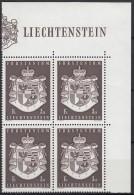 LIECHTENSTEIN 506, 4erBlock Eckrand, Postfrisch **, Staatswappen 1969
