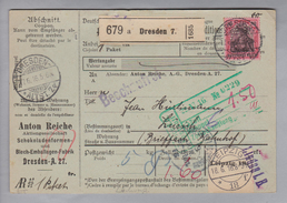 "Motiv Schokolade DR 1916-06-17 Dresden Paketkarte 80 Pf. Perfin ""AR"" Anton Reiche Schokoladenformen - Alimentation"