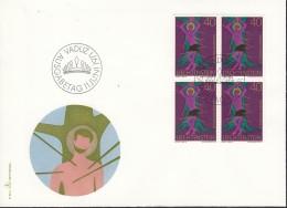 LIECHTENSTEIN  543, 4erBlock, FDC, Freimarke: Kirchenpatrone 1971