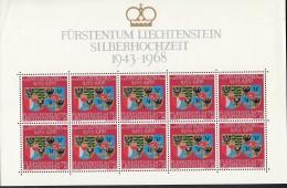 LIECHTENSTEIN  496, Kleinbogen, Postfrisch **, Silberhochzeit 1968