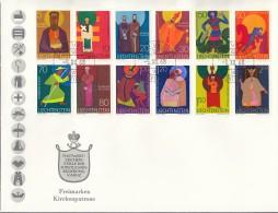 LIECHTENSTEIN 486-494, 500-502, FDC 5.12.1968, Kirchenpatrone 1967/68