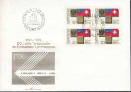 LIECHTENSTEIN 517, 4erBlock, FDC, 100 Jahre Telegraphie In Liechtenstein 1969