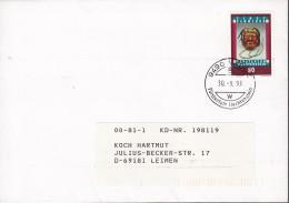 LIECHTENSTEIN 1062 EF, Auf Brief, Vaduz 30.9.1993, Tibetsammlung