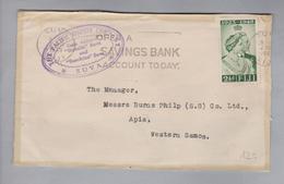 Ozeanien Fiji 1949-04-02 Suva Briefteil Nach Apia Samoa - Fidji (1970-...)