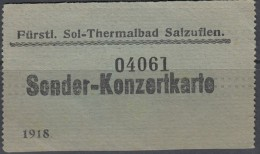 Ticket, Billet, Eintrittskarte Bad Salzuflen 1918, Sonder-Konzertkarte, Fürstl. Sol-Thermalbad - Eintrittskarten