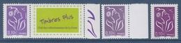 = Marianne De Lamouche ITVF 0.10€, Violet Rouge Les 2 Types  3732 Et 3732a, Neufs Gommés Et Le 3916A Personnalisé - 2004-08 Marianne Of Lamouche