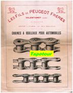 """Méc 1) (Publicité Ancienne Concernant La Mécanique) Chaine Pour Automobile """"Peugeot""""  1 Page  Rec/ - Advertising"""