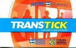 Ticket Métro De Marseille  (France) - RTM - Billet 2 Voyages - Métro