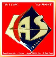 SUPER PIN´S TIR à L´ARC : AS FRANCE En Bel émail Base Or + Vernis, Format 2,5X2,5 Cm - Tir à L'Arc