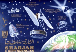 Raumfahrt Star 1964 Sharjah Block 4 ** 9€ Erde Satellit Pioneer Flashing Light Bloc Space Ss Unisphere Sheet Bf VAE - Space