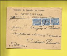 Enveloppe Ou Lettre Publicitaire Commerciale De COSNE CHAUSSURES PANTOUFLES GALOCHES  G. DESBRUÈRES  Rec Le 05 03 47 - Marcophilie (Lettres)