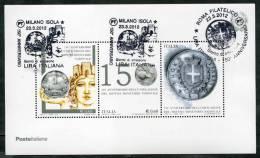 2012 Italia, Foglietto 150° Anniversario Lira, Con Annulli Ufficiali - 6. 1946-.. Republic