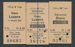 SWITZERLAND QY3417 Stans Stansstad Luzern 1971-73 3 Billet Fahrkarte Ticket