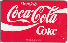 ICELAND(chip) - Drekkid Coca Cola(ICE-RA-04), Radiomidum Satellite Telecard 150 Skref, Chip SC5, Tirage 3000, Used