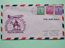 USA 1943 First Flight Cover Salem To Philadelphia - Horse Or Donkey - Plane - For Defense - Statue Of Liberty - Cannon - - United States
