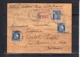 """Lettre """" VALEUR DECLAREE CHARGEE """" De CAEN R.P. Le 28 3 39 Pour BEUVRON En AUGE Avec Cachet De CIRE - France"""