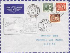 Lettre Poste Aérienne 1 ère Liaison Postale Aérienne Régulière Saigon Hanoi  Par Avion Indochine 1938 - Covers & Documents