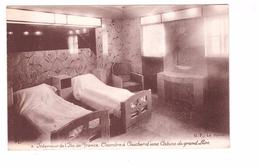 Bateau Paquebot Ile De France Interieur Chambre à Coucher D' Une Cabine Grand Luxe - Passagiersschepen
