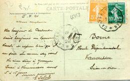 N°46859 -cachet Convoyeur (ambulant) Carteret à Carentan -1924- - Marcophilie (Lettres)