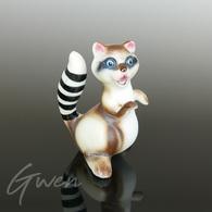 Miniature Ancienne Raton Laveur 5cm Animal Figurine Porcelaine Biscuit Japon 1960 - Céramiques