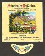 ITALIA - Etichetta Vino PINOT GRIGIO RULANDER 1986 Cantina Convento Benedettini Di Muri-Gries Bianco TRENTINO-ALTO ADIGE - Weisswein
