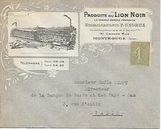 """MONTROUGE (92) - PRODUITS Du """"LION NOIR"""" - Ets F. GEORGE - Enveloppe 2 Scans - Documents Historiques"""