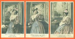 """Suite Complète De 5 CPA Couleur """" Le Bonnet De Mimi Pinson """" 2 Scans - JCP 21 - Femmes Célèbres"""