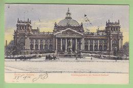 BERLIN Im Schnee : Reichstagsgebaude Mit Bismarck Denkmal. Dos Simple 2 Scans. - Allemagne