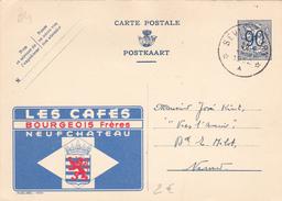 PUB  N°1004 - Cafés Bourgeois - FR/NL -  écrit Et Oblitéré - Beau Cachet *Etoiles* - Publibels