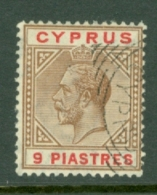 Cyprus: 1921/23   KGV   SG97a   9pi   Yellow-brown & Carmine    Used - Cipro (...-1960)
