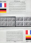 SOUVENIR PHILATELIQUE : XXVème Anniversaire TRAITE COOPERATION FRANCO-ALLEMANDE DE GAULLE ADENAUER 4 TP De Chaque Pays