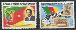 1991 Cameroun Cameroon Birds  Independence Anniversary Flags President  Complete Set Of 2 MNH - Kameroen (1960-...)