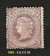 SPAGNA 1866 - Reina Isabell II - 2 C. Lila - MH - Edi:ES 88 - 1875-1882 Regno: Alfonso XII