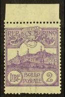1903 2L Violet Mt Titano (SG 50, Sass 44, Scott 72) Mint Upper Marginal Example, Short Perf At Base. For More...