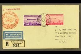 1936 ZEPPELIN FLIGHT. (18 June) Registered Cover To USA, Bearing 19365 Zeppelin Set (Michel 149/50, SG 151/52)...