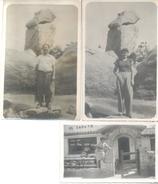 LOTE DE 3 PIEZAS DOS FOTOS Y UNA POSTAL DE EL ZAPATO LA FALDA PROVINCIA DE CORDOBA ARGENTINE CIRCA 1940 - Places
