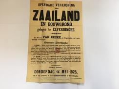 OUDE AFFICHE 1925  ELVERDINGE - Affiches