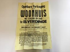 OUDE AFFICHE 1947  ELVERDINGE - Affiches