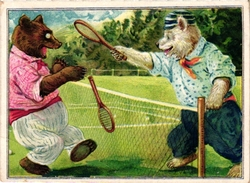 1 Card C1900 SPORT  Pub A LA VIERGE NOIR Bruxelles  Tennis Dressed Animals Pole Bear Against Bear Imp Byr Litho - Trading Cards
