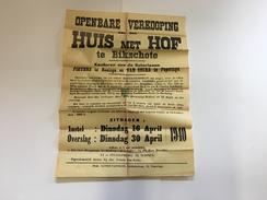 OUDE AFFICHE 1940 BIXSCHOTE - Affiches