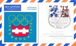 Germany Postal Stationary P/m Leverkusen 1976 Innsbruck Olympic Winter Games (G84-112)