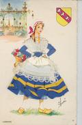 FEMMES - FRAU - LADY - Jolie Carte Fantaisie Brodée Femme LORRAINE - Brodées