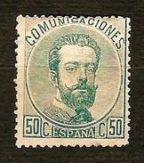 SPAGNA 1872 - Amadeo I -50 C. Verde - MH - Edi:ES 126 - 1872-73 Regno: Amedeo I