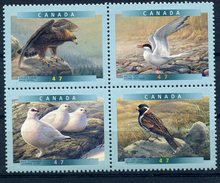 CANADA 2001 THEMATIQUE OISEAUX 4 TIMBRES NEUFS SE TENANT - Eagles & Birds Of Prey