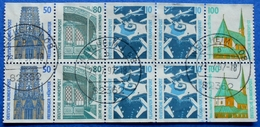 GERMANY CITIES AND PLACES 10 STAMPS OUT OF BOOKLET 50+80+10+10+100 Pf.1989 Mic.1340 CD,1342 CD,2x1347 CD,1406 CD - USED