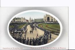 4 Cpa Exposition Bruxelles 1910. Grand Palais Et Visite Du Roi Et De La Reine - Expositions
