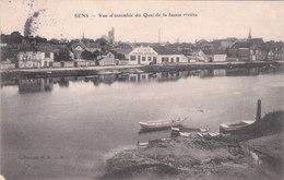 Cpa De L'Yonne - Sens - Place De La Répubique Et Le Marché Couvert - En Petit Plan Devanture De Garage - F. Vernis - Sens