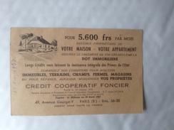 Crédit Coopératif Foncier, Carte Publicitaire 1953, Vente Maison, Appartement - Advertising