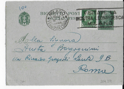 """ANNULLO A TARGHETTA """"VISITATE LA MOSTRA LEONARDESCA..."""" UFF MILANO FERROV. ORNAGHI 284.39 SU FRONTESPIZIO BIGLIETTO 1939 - 1900-44 Vittorio Emanuele III"""