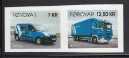 Faroe Islands MNH 2013 Set Of 2 Postal Delivery Van, Truck Ex Booklet